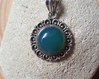 New Listing Sale... Just in gorgeous Green Blue Chalcedony Sterling Silver 925 Pendant. Chalcedony 925 Sterling Pendant. Oxidized 925