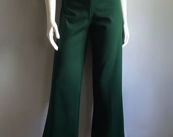Vintage Women's 70's Green, Polyester Pants, High Waisted, Bell Bottoms by Dehen (M/L)