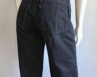 Vintage Women's 80's Levi's 550, Black, Jeans, High Waisted, Relaxed Fit, Denim (M)