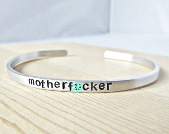 Motherf*cker bracelet, funny jewelry, best friend gifts for women, swear words, curse, inspiration, naughty, mean, rude, personalize, mature