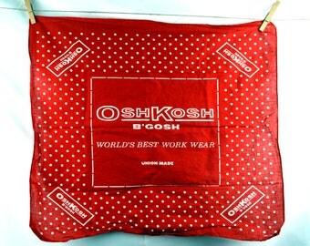 Osh Kosh Vintage Polka Dot Red Hankie Handkerchief Bandana - #D20