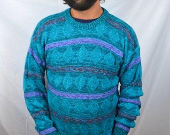 Vintage 80s Method Geometric Pullover Rainbow Green Purple Sweater