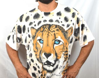 RAD Vintage 90s Tiger All Over Print Tshirt Tee Shirt
