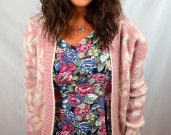 Vintage 80s Super Long Knit Pink Duster Maxi Sweater - Mary McFadden