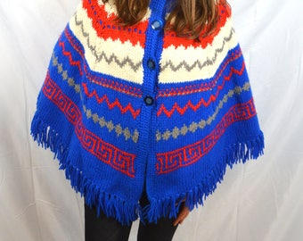 Vintage Boho Knit Blue Red Woven Fringe Poncho Sweater