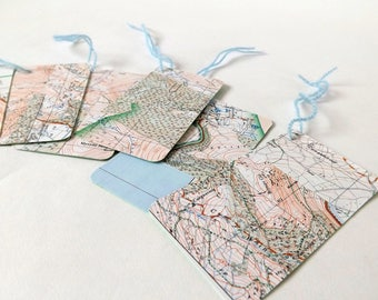 Upcycled Ephemera Gift Tags, Eco Friendly Gifting. Choice of 3 styles, Musical, Cartographical or Architectural.