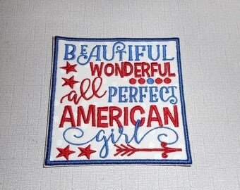Free Shipping Ready to Ship Fourth Of  July Machine Embroidery Iron on applique