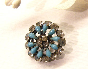 "Antique Button, Turquoise Jewel, Cabachons Pastes Openwork Metal FLOWER, 5/8"", ANIMAL CHARITY Donation"