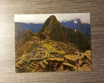 Vintage Postcard of Machu Picchu in Peru, postmark from 1996, USA 20-cent Harry S. Truman postage stamp