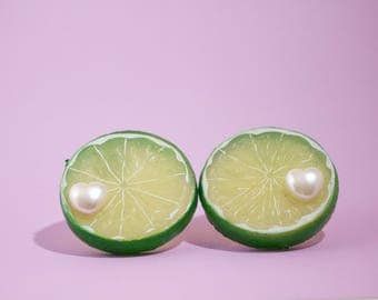 Large Chunky Kawaii Kitsch Spring / Summer Citrus Lime Slice Clip-On Earrings