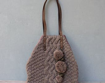 Cable Knit Leather Tote, Large Bohemian Bag with Pompoms