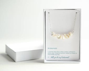 Beach Wedding Bridesmaid Necklace - Silver Pearl Bridesmaid Necklace - Will You Be My Bridesmaid Gift - Bridesmaid Proposal