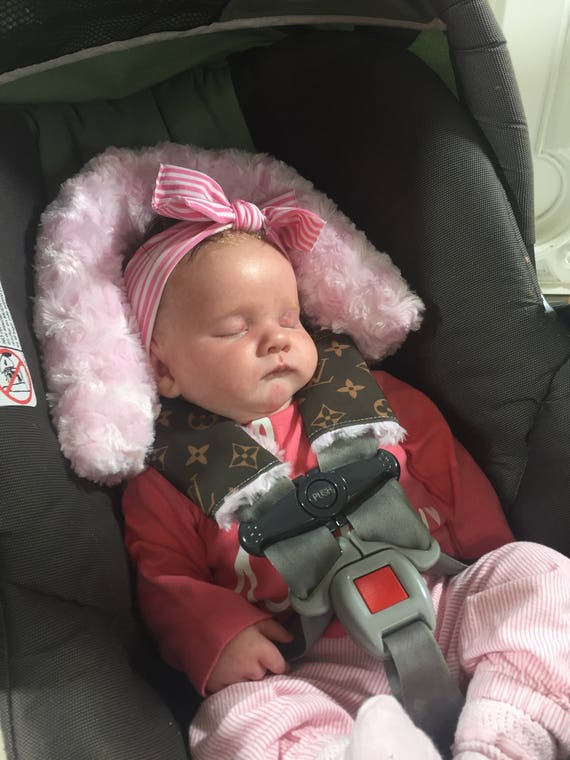 Custom LV car seat strap covers