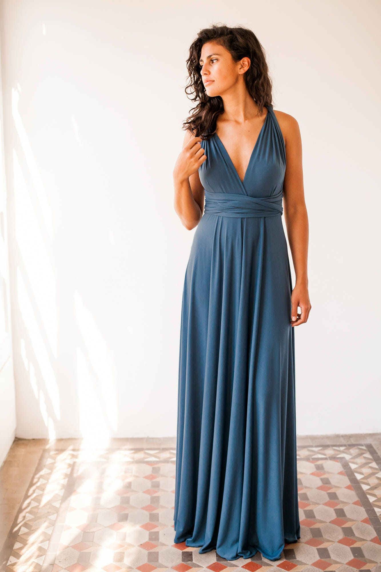 indigo blue bridesmaid dress denim blue long bridesmaid