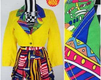 Super Cool 90s Yellow Cropped Jean Jacket with Psychedelic Geometric Collar
