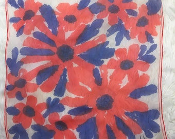 STUNNING Vera Neumann Vintage 60s Red, Blue, White Abstract Floral Sheer Square Scarf