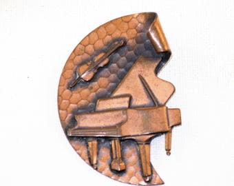 Vintage Modernist Copper Piano and Violin Music Brooch Pin (B-1-4)