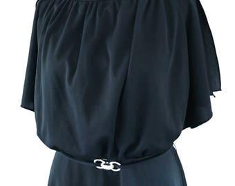 Vintage Black Tiered Dress, Vintage Dress, Black Dress, 70s, 80s, Halloween, Witch, Costume, Dress, Short Black Dress, 1980s, 1970s, Elvira
