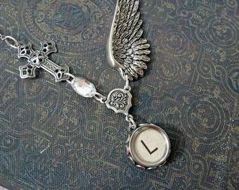Wing and a Prayer - Typewriter Key Necklace - Initial L - Typewriter Key Jewelry