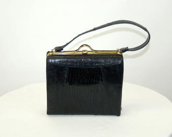 1950s purse Madwed handbag black reptile lizard skin bag box purse