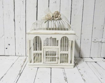 Old Birdcage, White Birdcage, Vintage Birdcage, Wooden Birdcage, Cottage Decor, Farmhouse Decor, Garden Decor