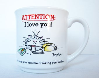 Sandra Boynton Mug I LOVE YOU Boynton Cat Message