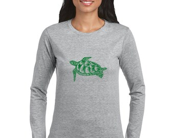 Turtle Shirts For Women, Long Sleeved Turtle Tshirt, Cotton Crewneck Graphic Tee Shirt, Animal Shirts, Reptile Shirts, Ladies Sea Turtle Tee