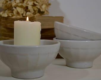 Set of Three Café au Lait Bowls - Thick Heavy Stoneware, French Café au Lait Bowls, French Country, French Nordic