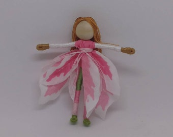 Christmas Fairy -White and Pink Poinsettia Fairy - Waldorf Flower Fairy Doll - Christmas ornament