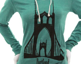 St. Johns Bridge| Lightweight pullover hoodie| Wild and Free| White stag| Soft organic cotton| Jumper| Travel tee| Gift for her.