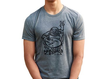Hotei| Happy Lucky Buddha flashing a Peace Sign| Men's regular T Shirt| Art by MATLEY| Up to 5XL| Yoga| Ohm| Gift for him and her.