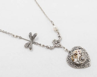 Steampunk Necklace, Vintage Watch Movement on Heart Pendant with Genuine Pearl, Crystal, Dragonfly Charm & Silver Chain, Jewelry Gift 4133