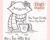 Penelope Cat Digital Stamp - Cat Digital Stamp - Fall Stamp - Cat Art - Cat Craft Supply