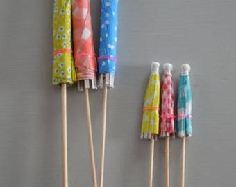 Drink umbrella, new year cocktail umbrella, cake toppers, party decoration, red yellow blue, 6 paper umbrellas (3 big, 3 small)