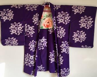 1960s MEISEN Haori KIMONO Cropped BOHO Purple Jacket