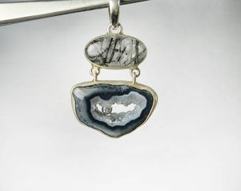 Agate Slice Druzy Necklace Geode Pendant Rutilated Quartz Round White Topaz Raw Stone Peek a Boo Sterling Silver Pendant