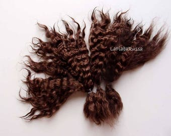 Curly Mohair Doll Hair Dark brown extra long 10 in Combed locks mohair goat/ reroot/ Reborn/ blythe/ bjd, abjd/ weft making/ lafiabarussa