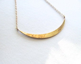 50% off! Golden crescent bib necklace, brass on 14k gold plate chain, vintage pendant, boho necklace