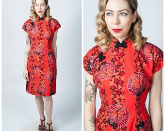Vintage 1950's Crane Print Hawaiian Tea Timer Dress/ 50's Hand Painted Red Cotton Malihini Hawaiian Dress Size Medium