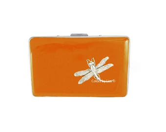 Dragonfly RFID Metal Wallet with Credit Card Organizer Hand Painted Orange Opaque Enamel Assorted Colors and Personalized Options