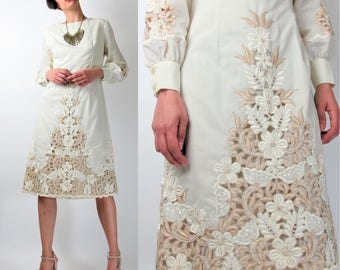 Vintage Floral Embroidered Wedding Dress Cut Out Cutwork Dress 1960s Wedding Dress Cream Cotton Midi Mod Long Sleeve Wedding Dress S E7073