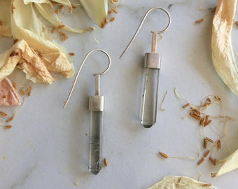 Smokey Quartz Modern Minimalist Crystal Point Earrings in Sterling Silver