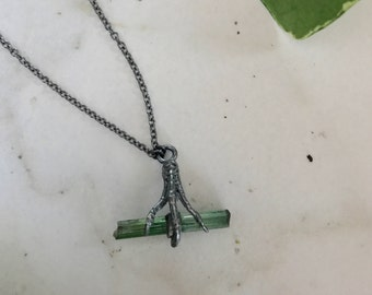 Raw Green Tourmaline Crystal Branch Necklace with a Sparrow Foot in Sterling Silver