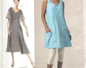 "Sz OSZ ( 10 through 34W) Bust 32"" - 55"" Vogue Today's Fit  Sewing Pattern V1101 Sandra Bettina Bias Cut Tunic or Dress"