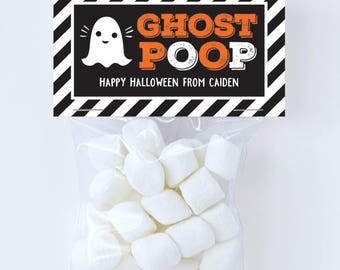 Halloween Treat Labels & Tags - Ghost Poop - Set of 24 personalized paper tags and 24 treat bags