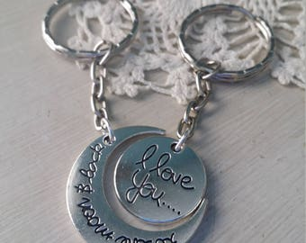I love you to the moon and back silver keychain set for best friends sisters mother daughter long distance