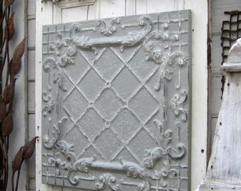 Antique Ceiling Tile. 2'x2'  Vintage architectural salvage.  FRAMED gray wall decor. Metal wall art. Tin ceiling panel