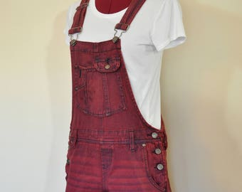 Red Small Bib OVERALL Shorts - Scarlet Red Dyed Lei Cotton Denim Shortalls - Adult Womens Size Small (36 waist)
