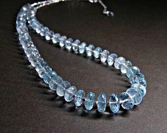 December birthstone necklace, sky blue topaz necklace, topaz silver statement necklace, Thai Karen silver necklace, blue topaz jewellery