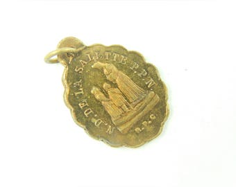 Antique Notre Dame de La Salette Catholic Medal - Our Lady of La Salette - Crying Virgin Mary Religious Charm - 0180